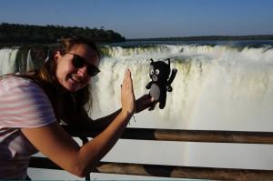 (37) Kiwi tape la patte avec Anaïs aux chutes d'Iguazu